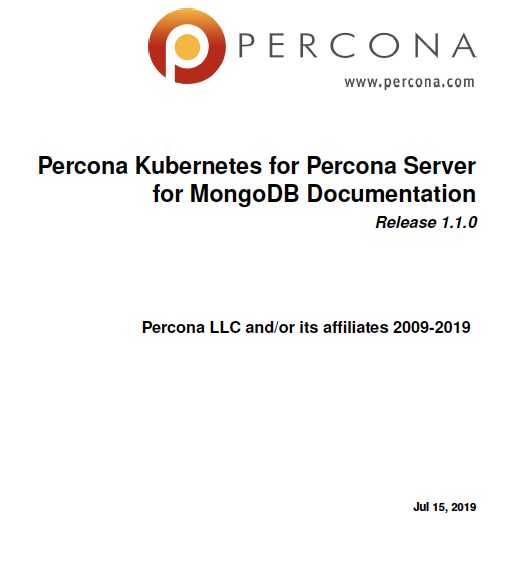 Percona Kubernetes Operator Percona Server MongoDB 1.1.0
